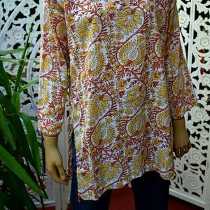 ViNtAgE paisley block print tunic from India M